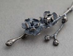 Blossom Brooch by Rebecca Fargher. Oxidized sterling silver.