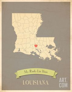 Louisiana My Roots Map, clay version (includes stickers) Art Print by Rebecca Peragine at Art.com