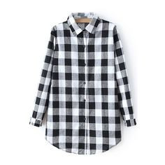 Checked Shirt Collar Long Sleeve Shirt ($20) ❤ liked on Polyvore featuring tops