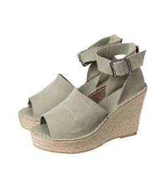 Yaya Army Green Wedge Sandals, an open toe pair of wedged Summer shoes in a dusty khaki. Complete with a chunky ankle strap with a metallic buckle, these platform high heels have woven jute and rubber soles. Also available in sand. Green Wedges, Green Sandals, Wedge Sandals, Platform High Heels, Summer Shoes, Army Green, Open Toe, Ankle Strap, Espadrilles