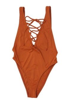 b3bc5fe59d Rust High Cut Lace Up One Piece Swimsuit
