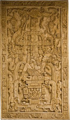 "Pakal Sarcophagus Lid, Maya Temple of the inscriptions, Palenque.   « Pakal lies on top of the ""earth monster."" Below him are the open jaws of a jaguar, symbolizing Xibalba. Above him is the Celestial Bird, perched atop the Cosmic Tree (represented by a cross) which, in turn, holds a Serpent in its branches. Thus, in the image Pakal lies between two worlds: the heavens and the underworld. »  (photo by Asaf Braverman; description from wikipedia)"