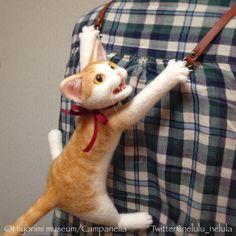 The wearable cat, wool felt kitty. ☆羊毛フェルト製、着れる猫。