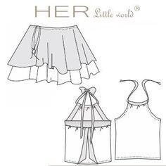 HER Little world, Patron de couture pour vêtement enfant, jupe et tee-shirt Désinvolte