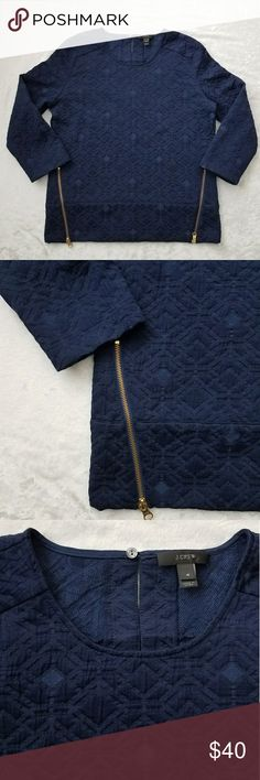 J crew top size 4 Navy Pit to pit 20 inches  Arm length from pit 13 inches  Length from shoulder 25 inches J. Crew Tops