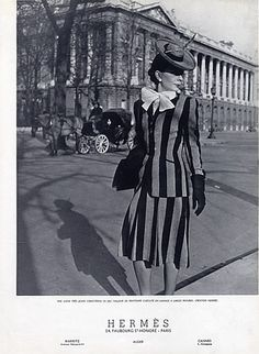 An eye-catching striped suit from Hermès (Couture), 1941. #vintage #1940s #fashion