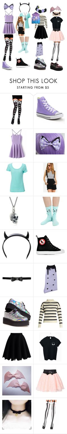 """""""pastel goth outfits!"""" by becauseamazingness ❤ liked on Polyvore featuring Converse, Simplex Apparel, Black Pearl, Club Exx, Moschino, Alice + Olivia, MIGH-T BY KUMIKO WATARI, T.U.K., Tabula Rasa and Chicwish"""