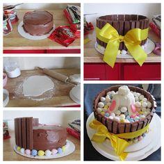 Bottoms up! Easter Bunny basket cake. Chocolate cake, kit kats, Cadbury robin eggs and marshmallow fondant bunny bottom! This was actually pretty easy to make. :)