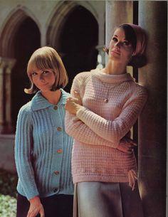 Pink & Blue • 1960s Cardigan Sweater Patterns • 60s Vintage Knitting Pattern • Retro Knit PDF by TheStarShop on Etsy