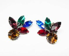Rainbow of Rhinestones Earrings  Vintage Clip on with Multi
