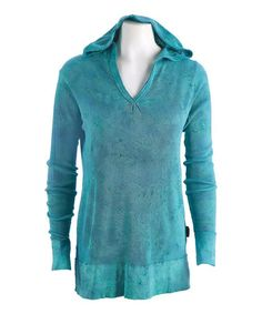 Look what I found on #zulily! Teal Blue Crinkle Yoga Thermal Hoodie by Ojai Clothing #zulilyfinds