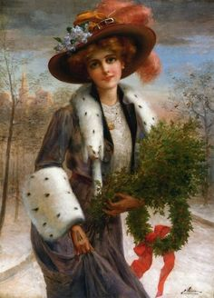 Victorian Lady with Christmas wreath by Emile Vernon Images Vintage, Vintage Christmas Images, Victorian Christmas, Vintage Holiday, Vintage Pictures, Vintage Postcards, Victorian Art, Victorian Women, Vernon