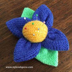 Paso a paso: alfiletero en forma de flor tejida en dos agujas o palitos!