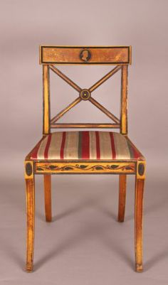 Centennial Era Chair Orig Paint Nathan Hale Late 19th C Federal Sheraton    eBayduncan phyfe furniture style   Rose Back Chair   Chairs  . Nathan Hale Dining Room Furniture. Home Design Ideas