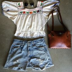 """Levi's Cut Off Shorts $28+$8(shipping). Size 29 & Embroidered Peasant Top $48+$8(shipping). Size small (18""""x18""""). Floral Embossed leather Purse $52+$8(shipping). Contact the shop at 415-796-2398 to purchase by phone or send PayPal payment to afterlifeboutique@gmail.com and reference item in post;the first confirmed payment will get the item. Call or DM with other questions."""
