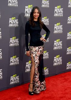 MTV Movie Awards: Who Wore What: Zoe Saldana fused feminine with sexy in a floral maxi skirt by Givenchy, complete with a thigh-high slit.