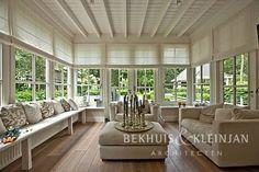 Home | Bekhuis en Kleinjan Architecten Spacious Living Room, Villa, Exterior, Windows, Curtains, Home Decor, Lush, Green Houses, Mom And Dad