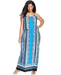 Alfani Plus Size Sleeveless Striped Tiered Maxi Dress Plus Size