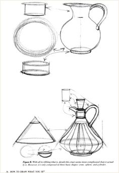 How To Draw What you see ebook tutorials 1996 Ruby De Reyna Basic Sketching, Basic Drawing, Drawing Skills, Drawing Techniques, Geometric Shapes Drawing, Perspective Drawing Lessons, Isometric Drawing, Jackson's Art, Object Drawing