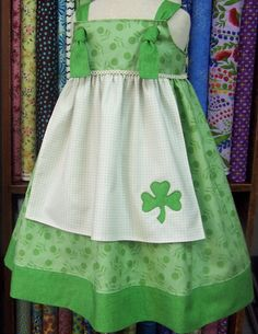 Thinking of getting these for the girls for St. Patty's Day St Patricks Day/Irish Knot Apron Jumper by littlerascals3 on Etsy, $38.00