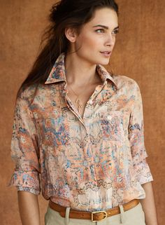 Vintage-inspired and printed in a wash of blush and turquoise, our gossamer rayon and modal shirt is finished with a hidden button placket, pockets and shirttail hem. Office Blouse, Office Fashion, Work Attire, Office Wear, Top Sales, Fashion Dolls, Work Wear, Vintage Inspired, Style Inspiration