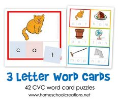 FREE Three Letter Word Cards contain a list of 42 3-letter CVC words for children to sound and spell using fun picture clues and hands-on learning.