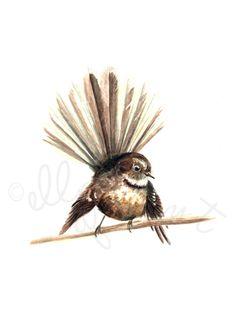 Piwakawaka / Fantail - a Native Manu print Ink Illustrations, Watercolor Techniques, Digital Stamps, Print Pictures, Wood Print, Giclee Print, Watercolor Paintings, Fine Art Prints, Birds