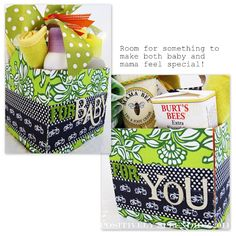 baby shower gift idea...one side is for baby, and the other is for mama!!