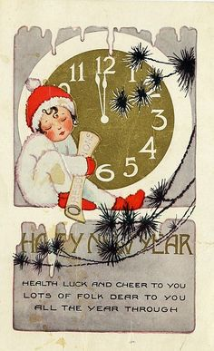 Vintage New Years Postcard - Almost Midnight by WyldHare.