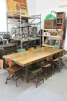 Vintage Industrial Dining Table Boardroom Butcher Block Workbench Iron Legs 8' | eBay