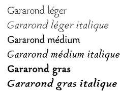 pierre di sciullo Le Gararond est un hommage irrévérencieux au Garamond. Les proportions sont proches, le dessin est réalisé à main levée sur ordinateur uniquement à base de courbes — à l'opposé des matrices oginales taillées au burin dans le cuivre. Comme dans le Garamond les lettres italiques ont des pentes variables, la ligne danse. De telle sorte que le Gararond est une interprétation libre de la référence, sans volonté d'imitation mais avec le désir de retrouver une certaine élégance…