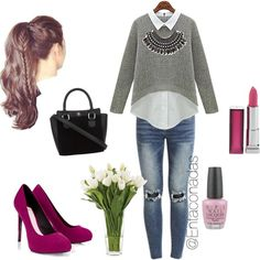 saturday by entaconadasdice on Polyvore featuring polyvore fashion style VILA Lipsy H&M Maybelline OPI NDI