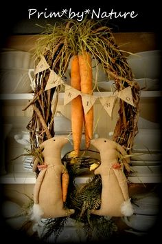 Primitive Wreath Easter Spring Bunny Rabbits with Carrots