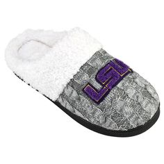 Women's LSU Tigers Letter Slippers, Size: