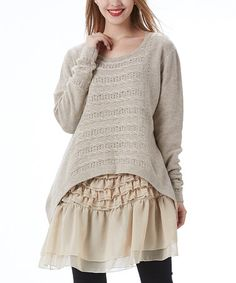 Another great find on #zulily! Beige Cable-Knit Tiered-Ruffled Tunic by Simply Couture #zulilyfinds