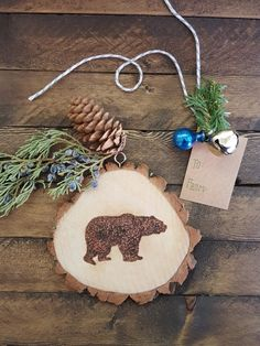 Wood Slice Ornament Bear Forest Animal by theurbanottershop