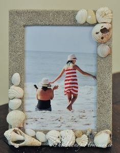 Seashore Beach Vacation Memory Picture Frame Seashell Picture Frames, Seashell Frame, Picture Frame Crafts, Beach Frame, Seashell Projects, Seashell Crafts, Beach Crafts, Dollar Tree Crafts, Diy Photo