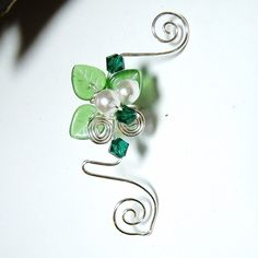 emerald forest elven ear cuff