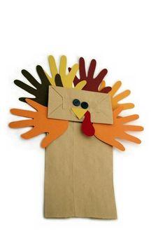 Paper Bag Turkey Kids Party Handprint Craft Idea