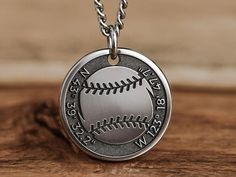 Custom Engraved Necklace, Custom Necklaces, Custom Jewelry, Baseball Necklace, Character Letters, Engraved Gifts, Stainless Steel Chain, Silver Man, Custom Engraving