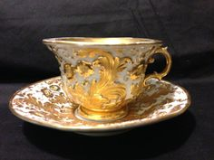 Dot Meissen Rococo gold gilt embossed floral large cup and saucer set circa 1790s
