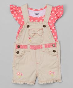 Look at this Nannette Girl Pink Floral Top & Beige Shortalls - Toddler & Girls on #zulily today!