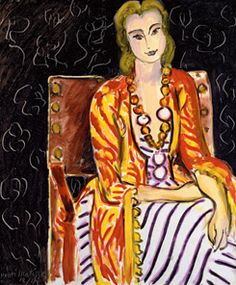 Henri Matisse, Woman Seated before  a Black Background, oil on canvas, 1942. Collection of Marion and Henry Bloch.