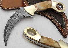 Custom Made Beautiful Damascus Steel Karambit by DZKKDAMASCUS, $60.00