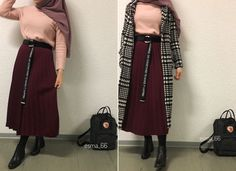 Pinterest: @adarkurdish Abaya Fashion, Muslim Fashion, Modest Fashion, Korean Fashion, Girl Fashion, Fashion Dresses, Girl Hijab, Hijab Outfit, Modele Hijab