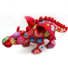 Colorful dragon #crochet pattern from Heidi Bears who makes lots of great colorful crochet animals