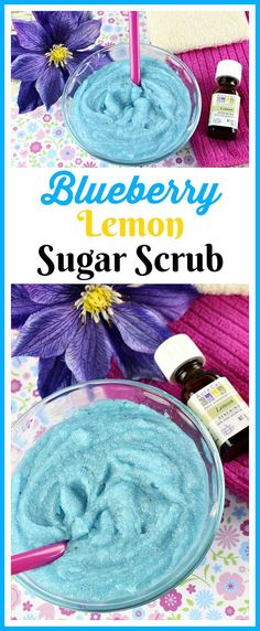 Blueberry Lemon Sugar Scrub- You don't have to use additives to make your own colorful DIY beauty product! Here's how to make an aqua colored blueberry lemon sugar scrub! | body scrub, homemade sugar scrub, blue beauty products, essential oils, all-natural, DIY gift, homemade gift idea, easy craft