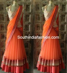Elegant Orange Half Saree