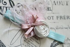 Vive la France Mint and Pink Feather Headband by por londonraquel
