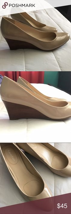 Calvin Klein patent wedges An essential piece to any wardrobe. Built in flexible outsole for maximum comfort and all day wear. In excellent condition. Gel pod insert for comfort.        DON'T FORGET Bundle with 3 or more items and get 15% off 😀 Calvin Klein Shoes Wedges